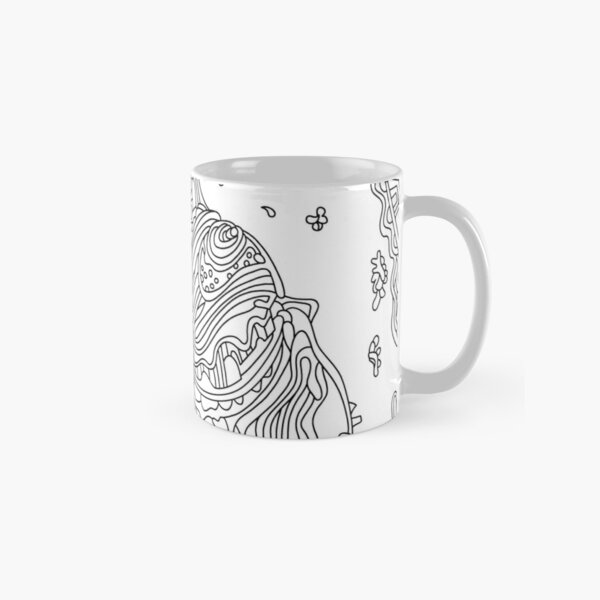 Wandering Abstract Line Art 50: Black & White Classic Mug