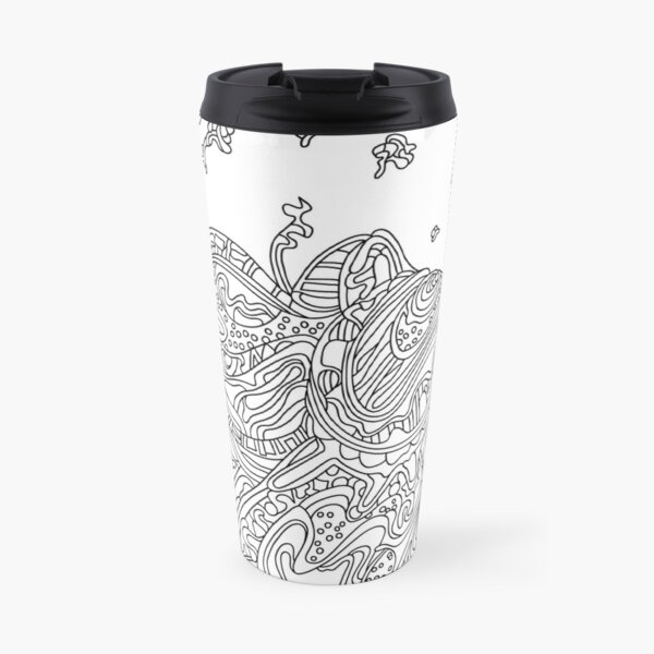 Wandering Abstract Line Art 50: Black & White Travel Mug