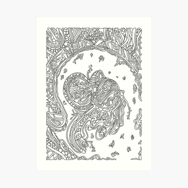 Wandering Abstract Line Art 50: Black & White Art Print