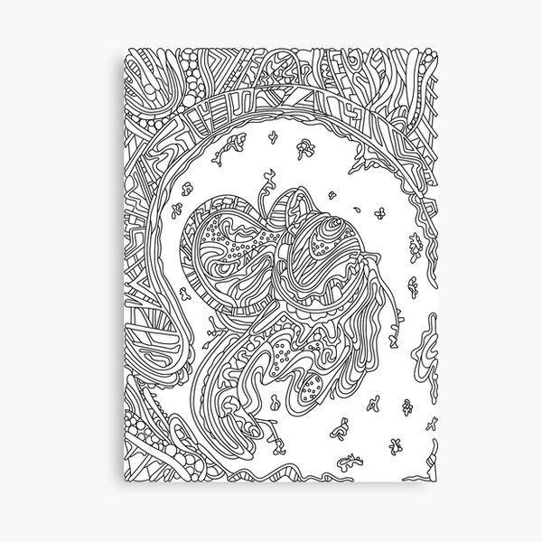 Wandering Abstract Line Art 50: Black & White Canvas Print