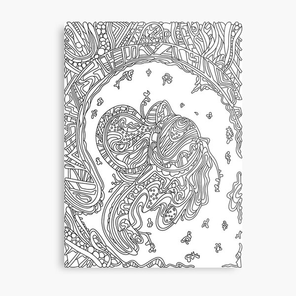 Wandering Abstract Line Art 50: Black & White Metal Print