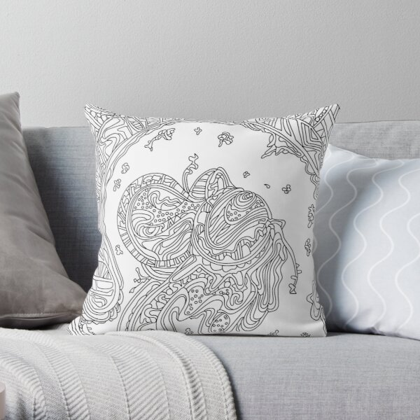 Wandering Abstract Line Art 50: Black & White Throw Pillow