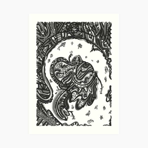 Wandering Abstract Line Art 50: Grayscale Art Print