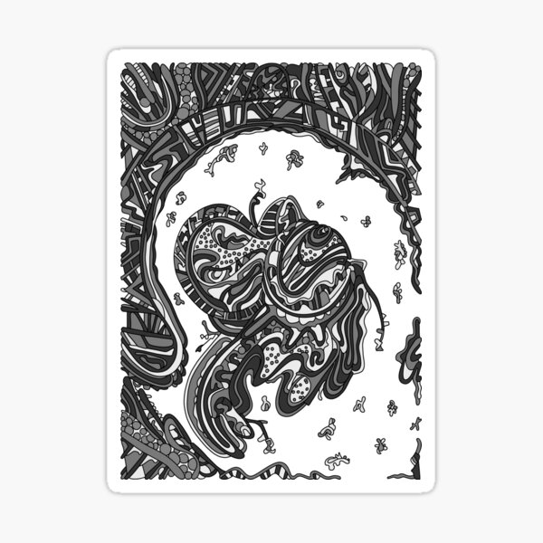Wandering Abstract Line Art 50: Grayscale Sticker