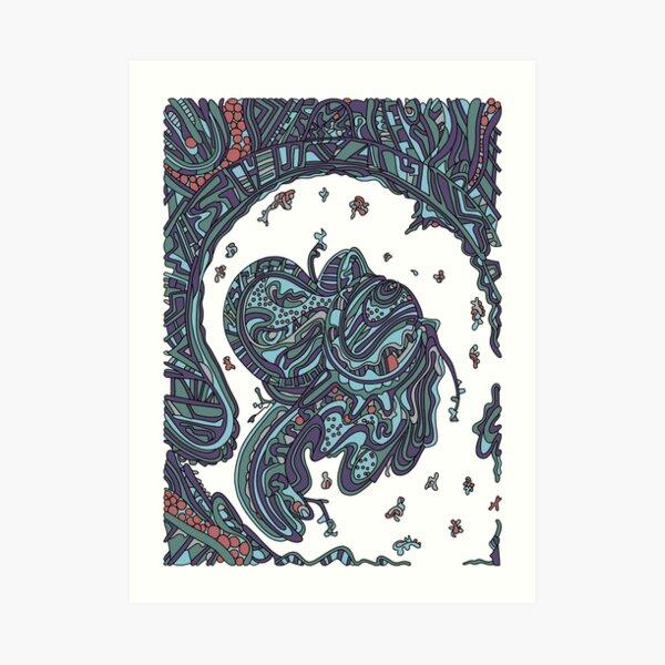 Wandering Abstract Line Art 50: Blue Art Print