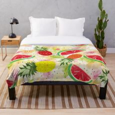 Pineapples and watermelons Throw Blanket