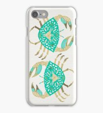 Crab – Turquoise & Gold iPhone Case/Skin