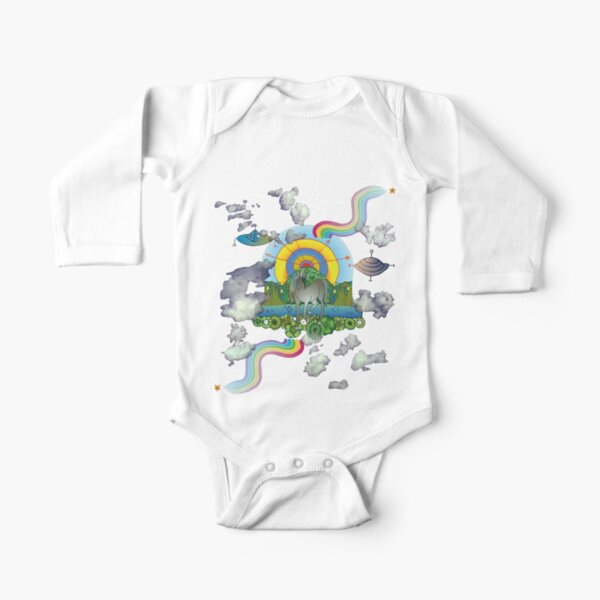 Perivale Unicorn with Canal and Aliens Long Sleeve Baby One-Piece
