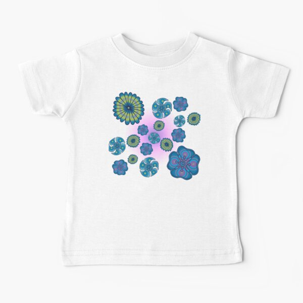 Psychedelic blue flowers Baby T-Shirt
