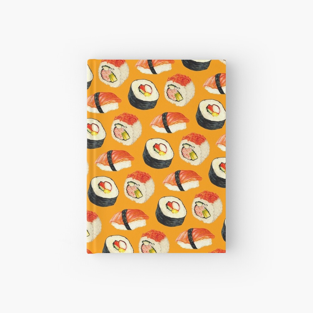 Sushi Pattern - Orange Hardcover Journal