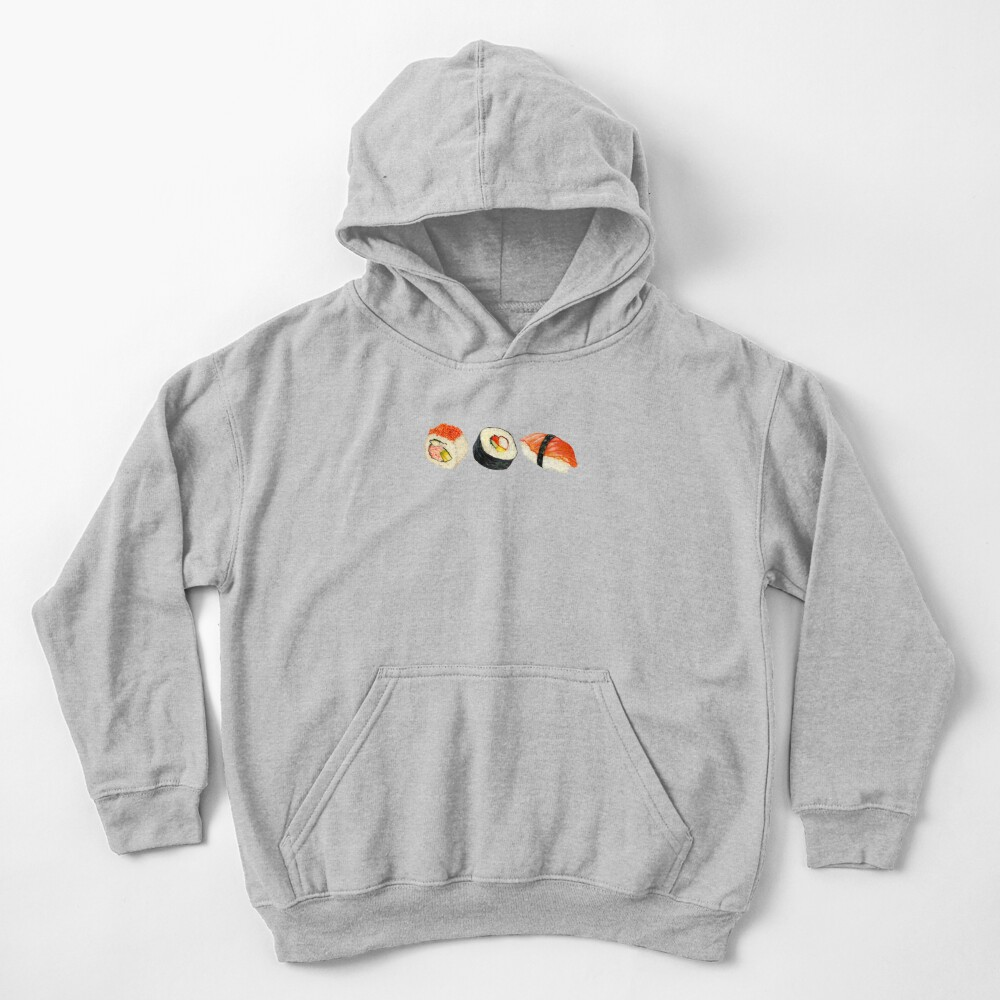 Sushi Pattern - Orange Kids Pullover Hoodie