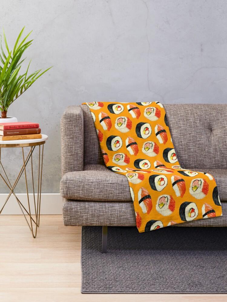 Alternate view of Sushi Pattern - Orange Throw Blanket