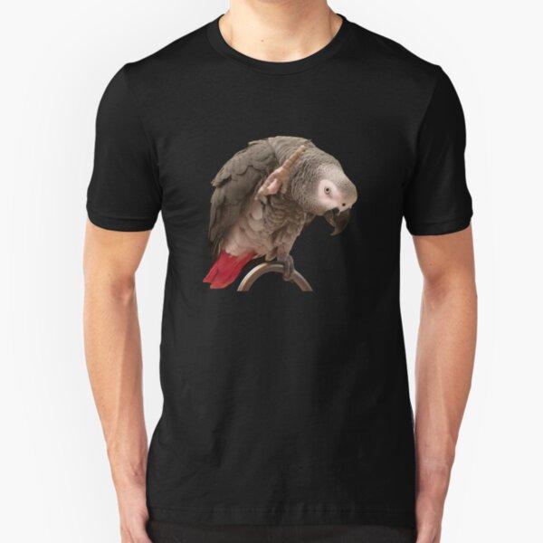 Funny Einstein African Grey Parrot Waving Slim Fit T-Shirt