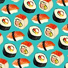 Sushi Pattern - Blue by Kelly  Gilleran