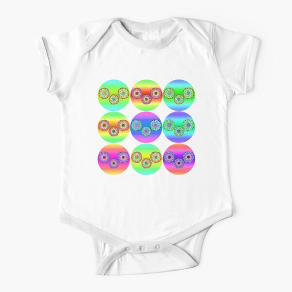 Daisies in Rainbow Short Sleeve Baby One-Piece