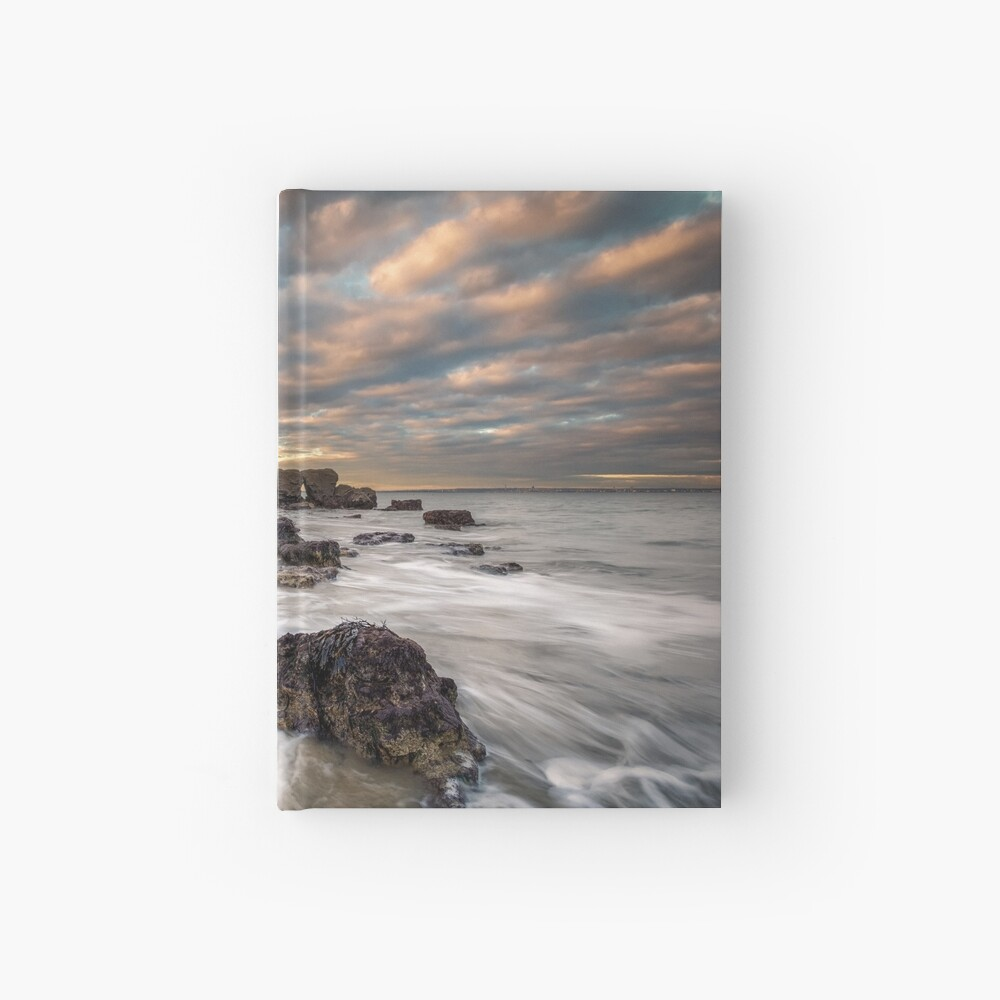 Rocky Beach Sunset At Seaview Isle Of Wight Hardcover Journal