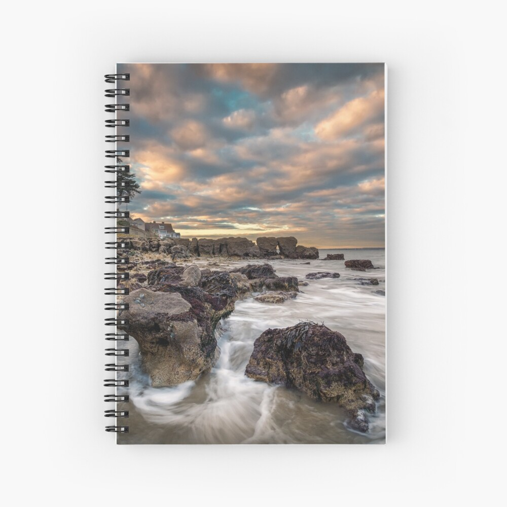 Rocky Beach Sunset At Seaview Isle Of Wight Spiral Notebook