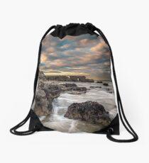 Rocky Beach Sunset At Seaview Isle Of Wight Drawstring Bag