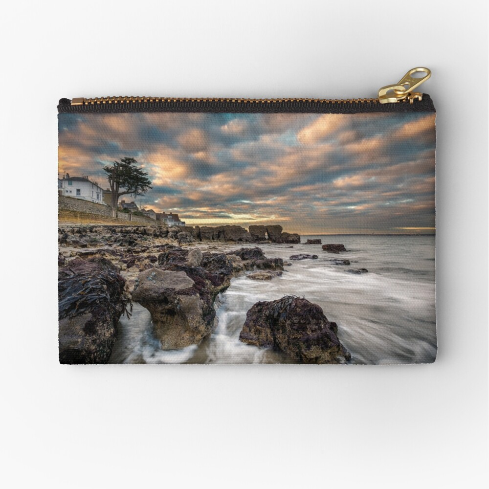 Rocky Beach Sunset At Seaview Isle Of Wight Zipper Pouch
