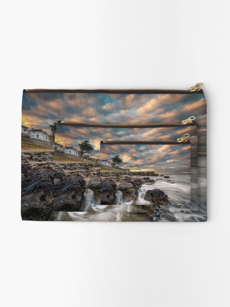 Alternate view of Rocky Beach Sunset At Seaview Isle Of Wight Zipper Pouch