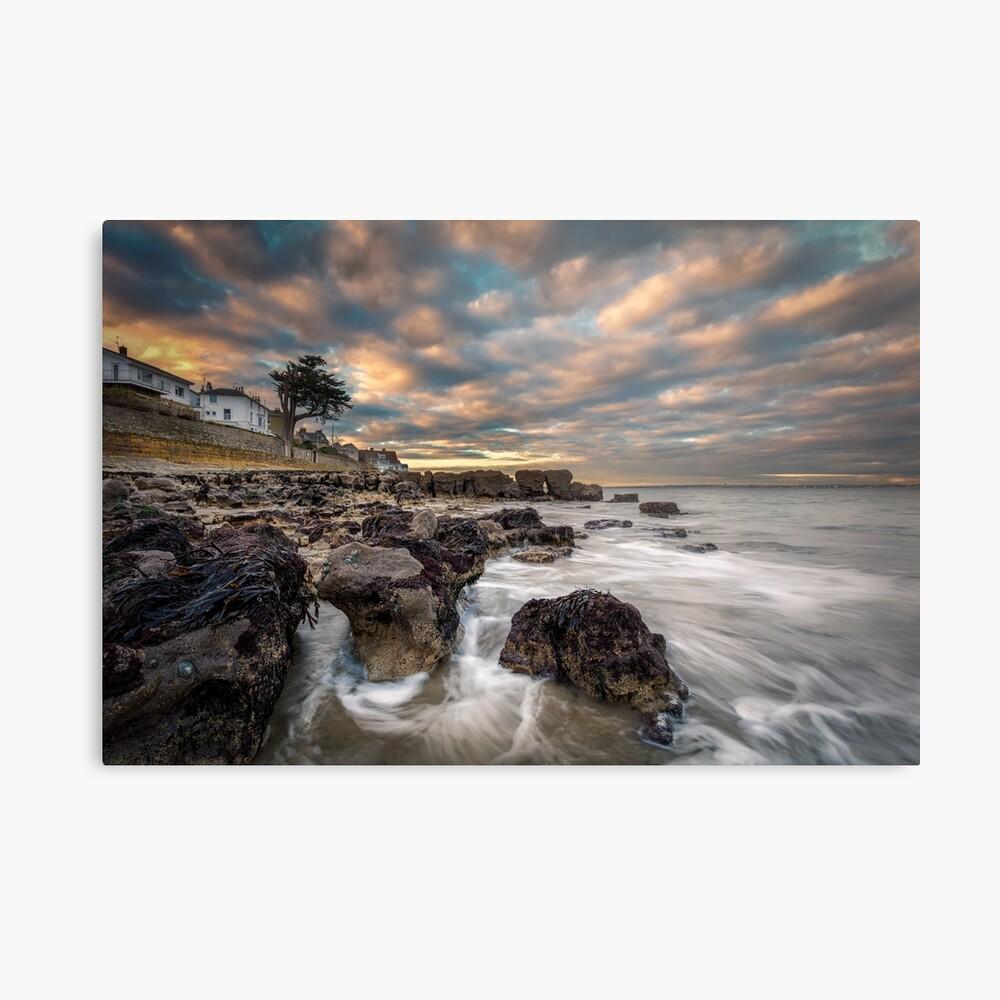 Rocky Beach Sunset At Seaview Isle Of Wight Metal Print