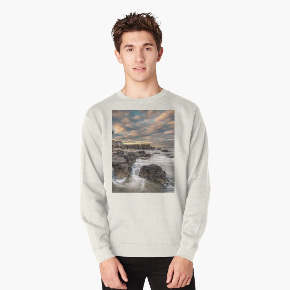 Rocky Beach Sunset At Seaview Isle Of Wight Pullover Sweatshirt