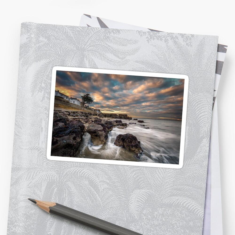 Rocky Beach Sunset At Seaview Isle Of Wight Sticker