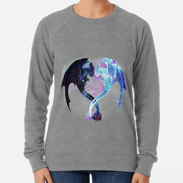 Dragon Heart Toothless and Light Fury Lightweight Sweatshirt