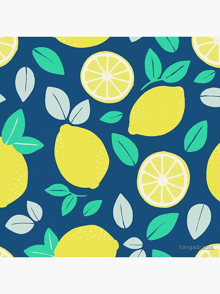 Summer Lemon Pattern in Navy Blue by tanyadraws
