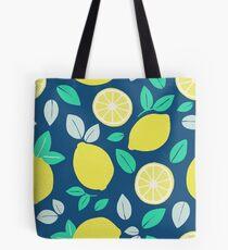 Summer Lemon Pattern in Navy Blue Tote Bag