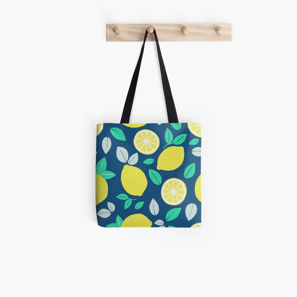 Summer Lemon Pattern in Navy Blue Tote Bag