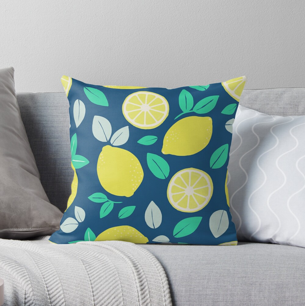 Summer Lemon Pattern in Navy Blue Throw Pillow