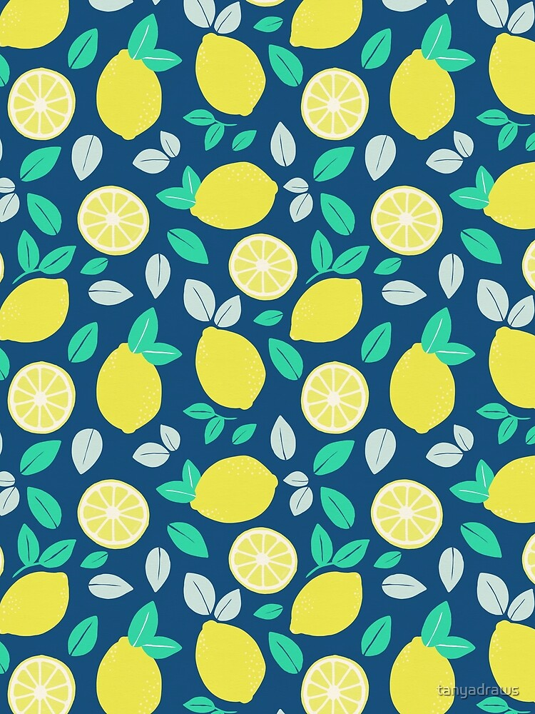 Summer Lemon Pattern in Navy Blue by tanyadraws