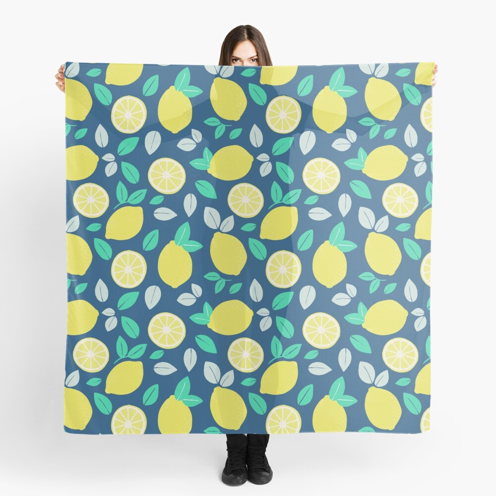 Summer Lemon Pattern in Navy Blue Scarf
