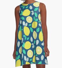 Summer Lemon Pattern in Navy Blue A-Line Dress