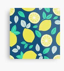 Summer Lemon Pattern in Navy Blue Metal Print