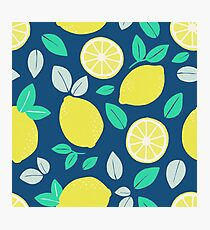 Summer Lemon Pattern in Navy Blue Photographic Print