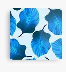 Tropical Leaves Pattern in Blue Metal Print