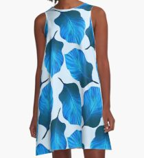 Tropical Leaves Pattern in Blue A-Line Dress