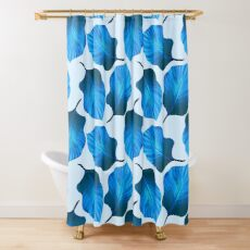 Tropical Leaves Pattern in Blue Shower Curtain