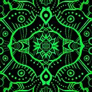 Green & Black Mandala Arabesque Pattern by clipsocallipso