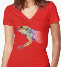 bearded dragon rainbow Mix Women's Fitted V-Neck T-Shirt