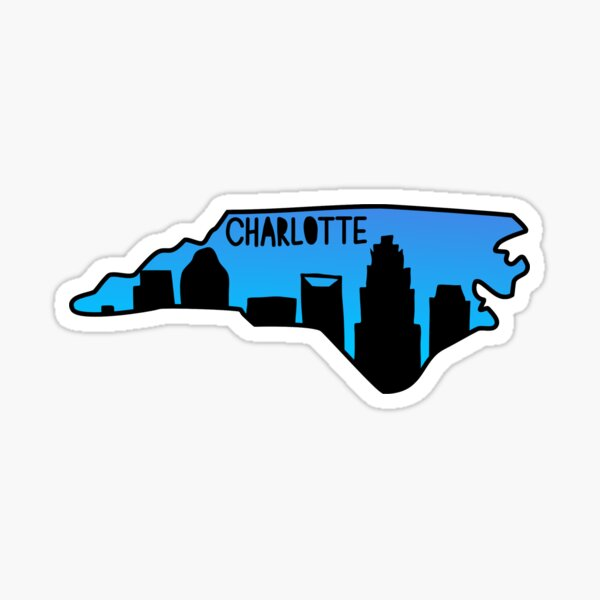 Charlotte NC Map Skyline Sticker Sticker