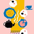 Tea For Three Papercut Collage Illustration by Adam Regester