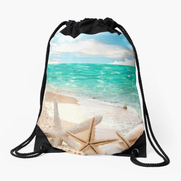 Seashells on a Tropical Beach Drawstring Bag