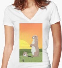 Prairie Sunset Women's Fitted V-Neck T-Shirt