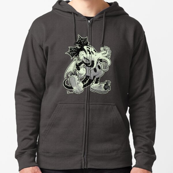 MICKTHULHU MOUSE (monochrome) Zipped Hoodie
