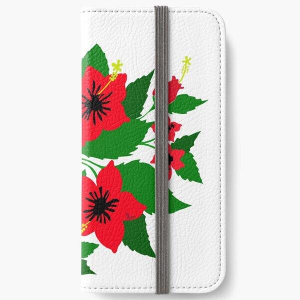 Red Hibiscus iPhone Wallet