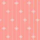 Coral and White Geometric Floral Pattern by WRosesPatterns