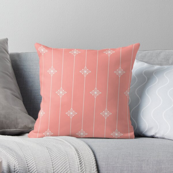 Coral and White Geometric Floral Pattern Throw Pillow
